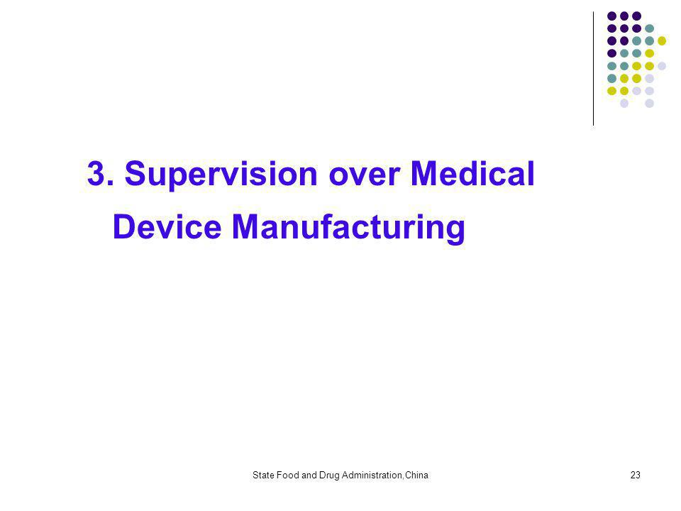 State Food and Drug Administration,China23 3. Supervision over Medical Device Manufacturing