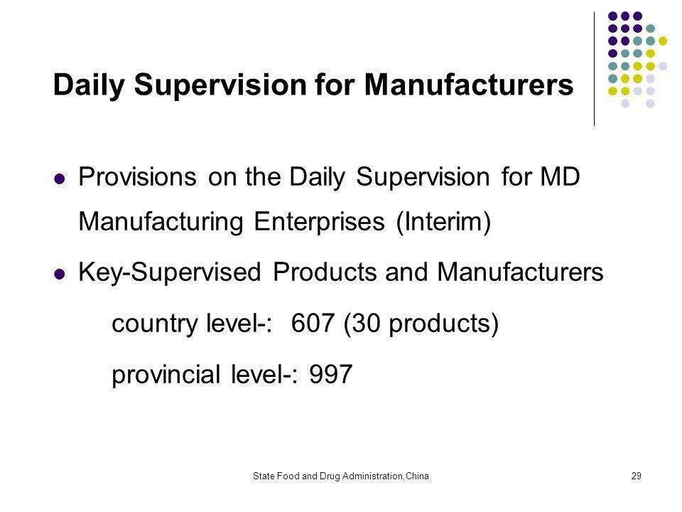 State Food and Drug Administration,China29 Daily Supervision for Manufacturers Provisions on the Daily Supervision for MD Manufacturing Enterprises (Interim) Key-Supervised Products and Manufacturers country level-: 607 (30 products) provincial level-: 997