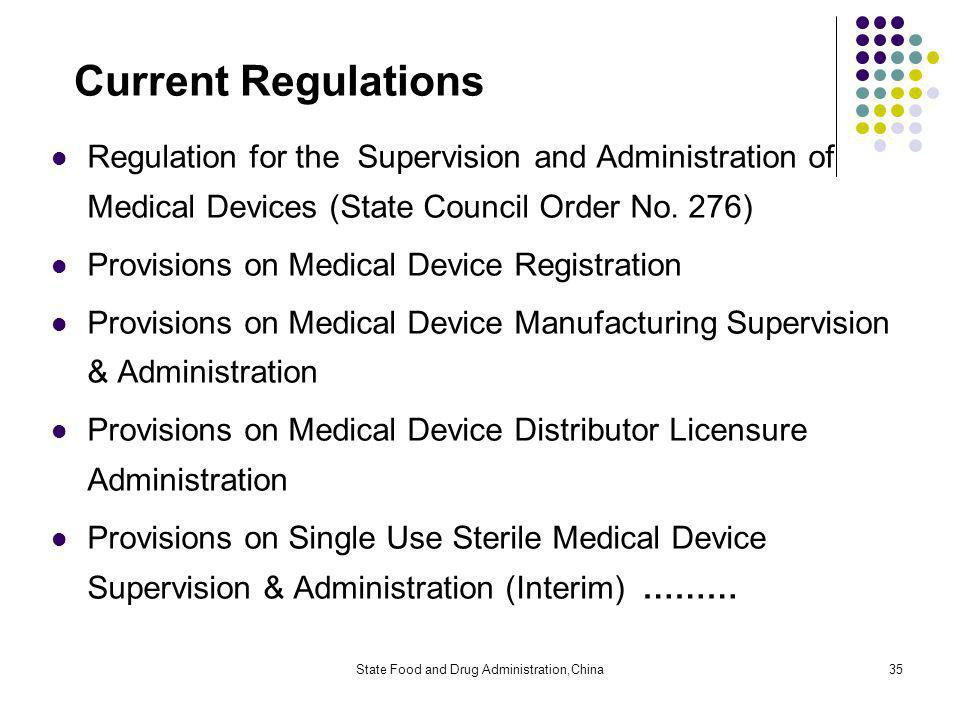 State Food and Drug Administration,China35 Current Regulations Regulation for the Supervision and Administration of Medical Devices (State Council Order No.