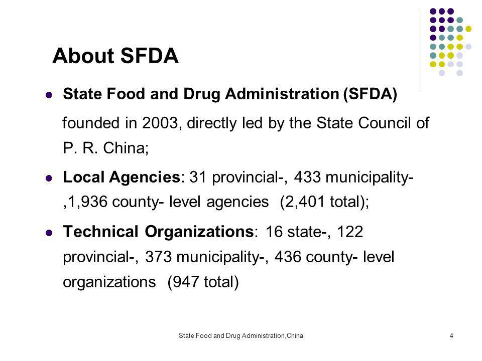 State Food and Drug Administration,China4 About SFDA State Food and Drug Administration (SFDA) founded in 2003, directly led by the State Council of P.
