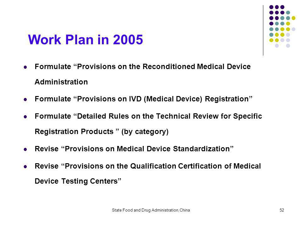 State Food and Drug Administration,China52 Work Plan in 2005 Formulate Provisions on the Reconditioned Medical Device Administration Formulate Provisions on IVD (Medical Device) Registration Formulate Detailed Rules on the Technical Review for Specific Registration Products (by category) Revise Provisions on Medical Device Standardization Revise Provisions on the Qualification Certification of Medical Device Testing Centers