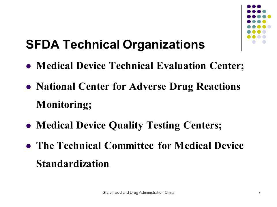 State Food and Drug Administration,China7 SFDA Technical Organizations Medical Device Technical Evaluation Center; National Center for Adverse Drug Reactions Monitoring; Medical Device Quality Testing Centers; The Technical Committee for Medical Device Standardization