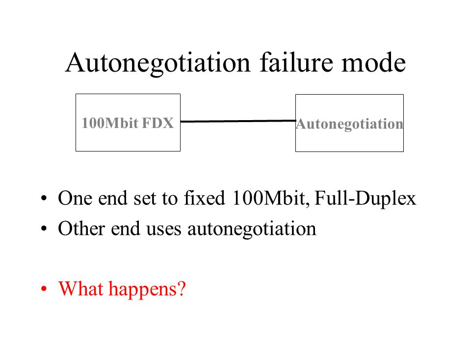 Autonegotiation failure mode One end set to fixed 100Mbit, Full-Duplex Other end uses autonegotiation What happens.