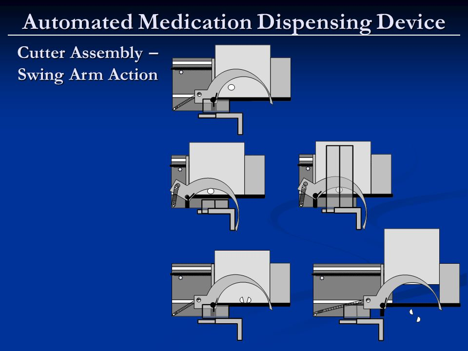 Automated Medication Dispensing Device Cutter Assembly – Swing Arm Action