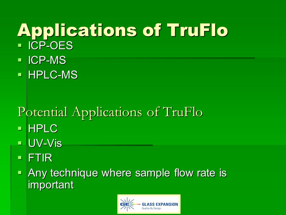 Applications of TruFlo ICP-OES ICP-OES ICP-MS ICP-MS HPLC-MS HPLC-MS Potential Applications of TruFlo HPLC HPLC UV-Vis UV-Vis FTIR FTIR Any technique where sample flow rate is important Any technique where sample flow rate is important