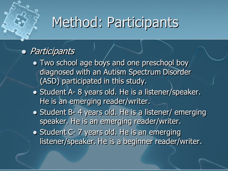 Method: Participants Participants Two school age boys and one preschool boy diagnosed with an Autism Spectrum Disorder (ASD) participated in this study.