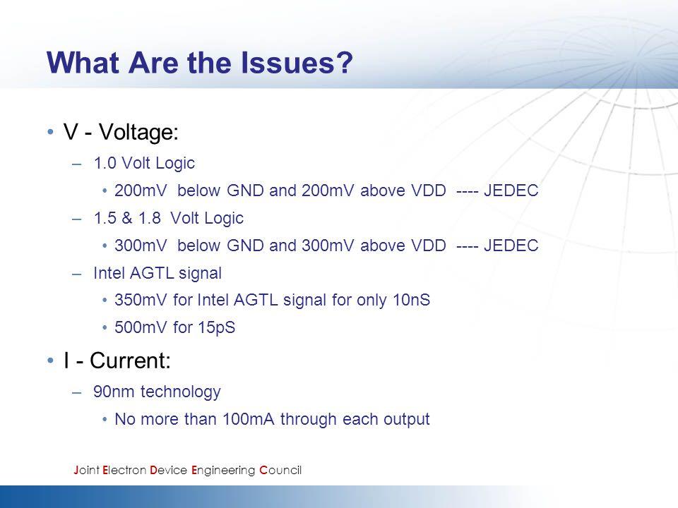 What Are the Issues? V - Voltage: –1.0 Volt Logic 200mV below GND and 200mV above VDD ---- JEDEC –1.5 & 1.8 Volt Logic 300mV below GND and 300mV above