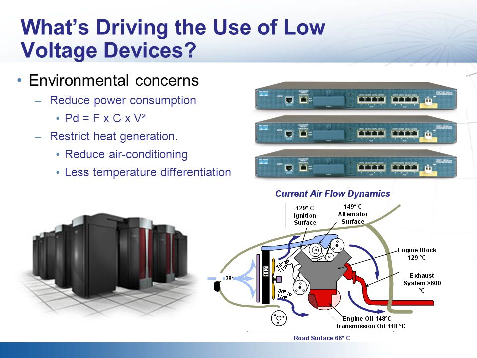 Whats Driving the Use of Low Voltage Devices? Environmental concerns –Reduce power consumption Pd = F x C x V² –Restrict heat generation. Reduce air-c