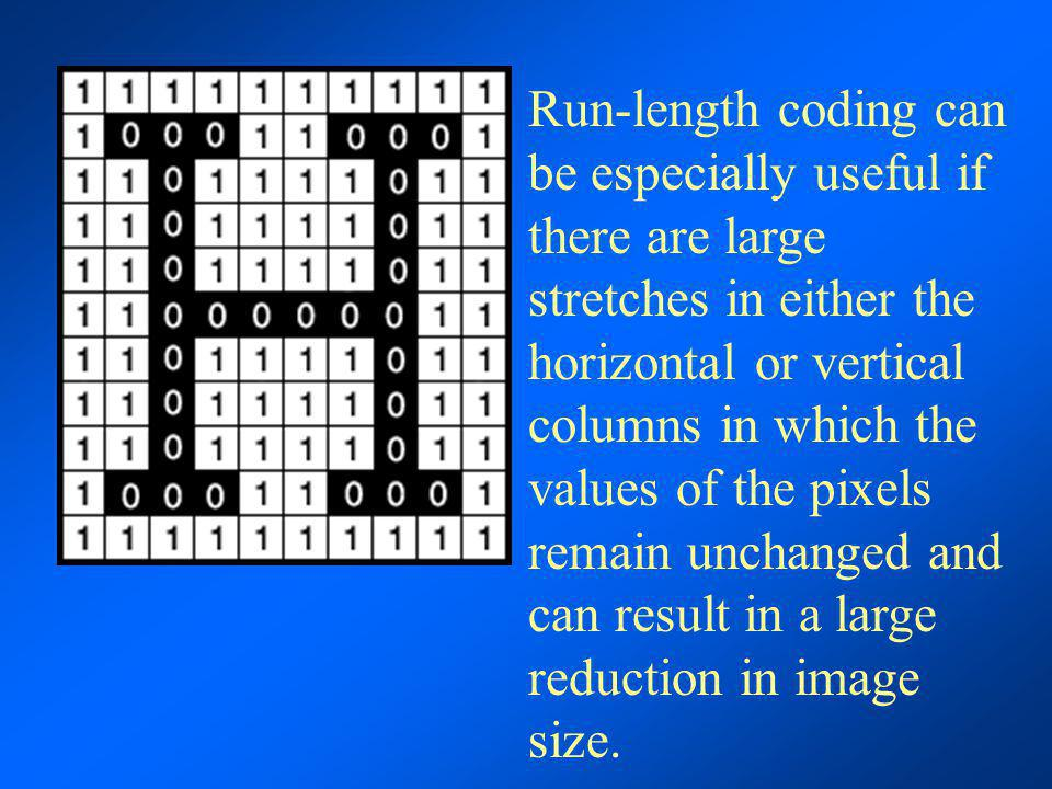 Run-length coding can be especially useful if there are large stretches in either the horizontal or vertical columns in which the values of the pixels