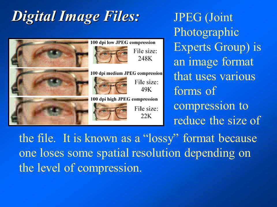 Digital Image Files: JPEG (Joint Photographic Experts Group) is an image format that uses various forms of compression to reduce the size of the file.