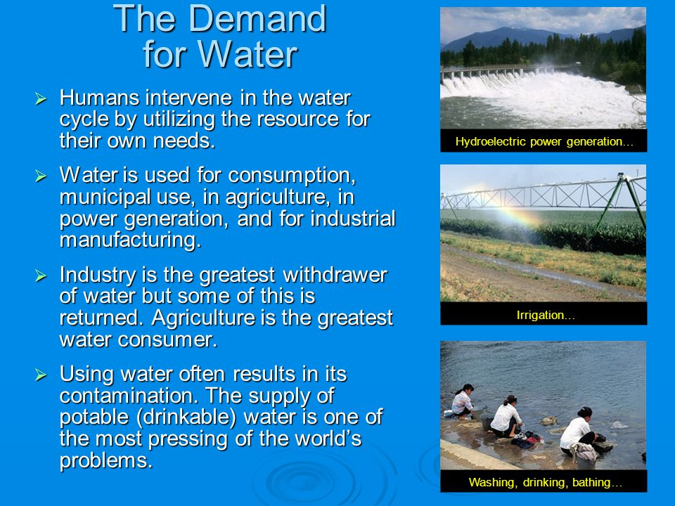 Humans intervene in the water cycle by utilizing the resource for their own needs. Humans intervene in the water cycle by utilizing the resource for t