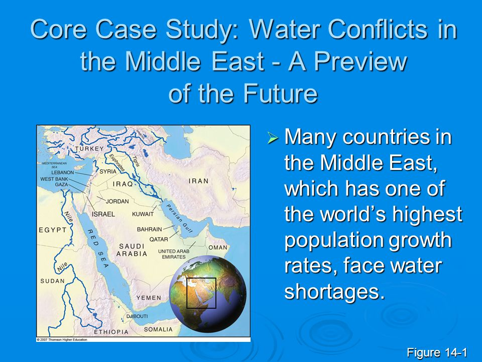 Core Case Study: Water Conflicts in the Middle East - A Preview of the Future Many countries in the Middle East, which has one of the worlds highest p