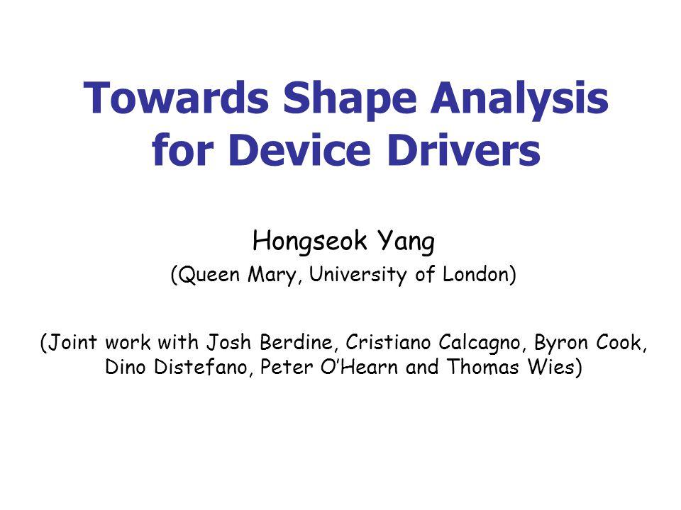 Dream Do deep shape analysis for real programs (i.e., programs of ~ 100K LOC).