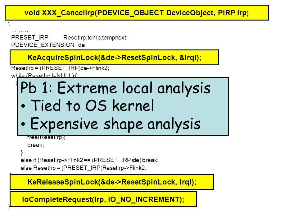 Footprint Computation list t*; while (x!=0) { t = x; x = x->next; free(t); } Discovered Precondition: x=a Æ a!=0 Æ emp x=a Æ emp x=a Æ a!=0 Æ emp