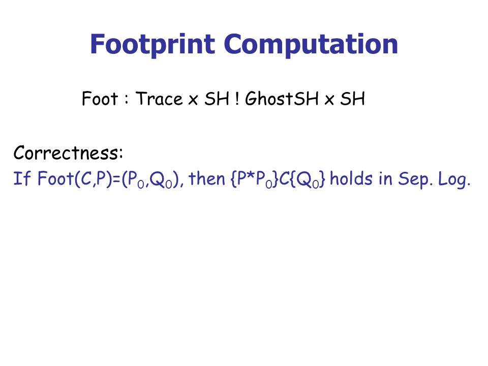 Footprint Computation Foot : Trace x SH ! GhostSH x SH Correctness: If Foot(C,P)=(P 0,Q 0 ), then {P*P 0 }C{Q 0 } holds in Sep. Log.