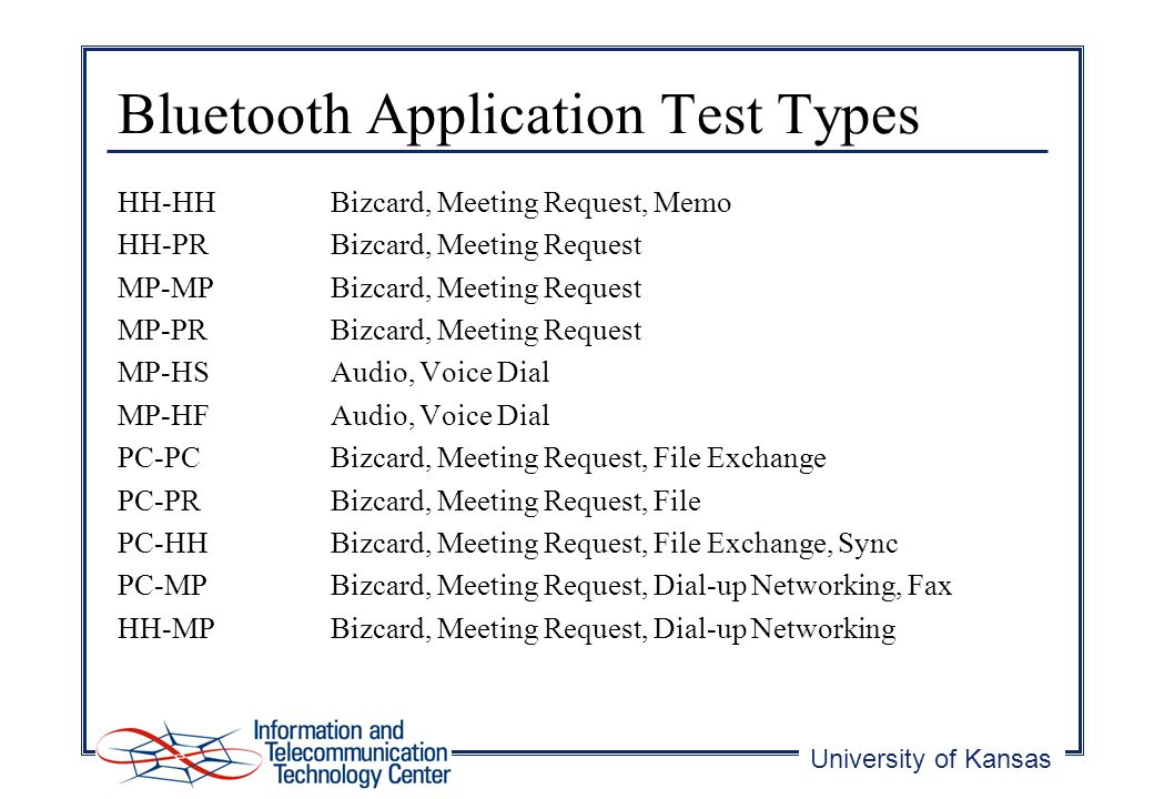 University of Kansas Bluetooth Application Test Types HH-HHBizcard, Meeting Request, Memo HH-PRBizcard, Meeting Request MP-MPBizcard, Meeting Request MP-PRBizcard, Meeting Request MP-HSAudio, Voice Dial MP-HFAudio, Voice Dial PC-PCBizcard, Meeting Request, File Exchange PC-PRBizcard, Meeting Request, File PC-HHBizcard, Meeting Request, File Exchange, Sync PC-MPBizcard, Meeting Request, Dial-up Networking, Fax HH-MPBizcard, Meeting Request, Dial-up Networking