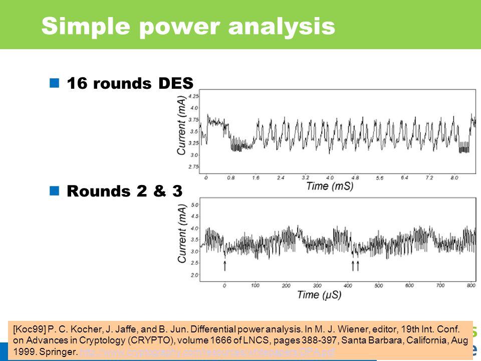 Simple power analysis 16 rounds DES Rounds 2 & 3 IIS 23 [Koc99] P. C. Kocher, J. Jaffe, and B. Jun. Differential power analysis. In M. J. Wiener, edit