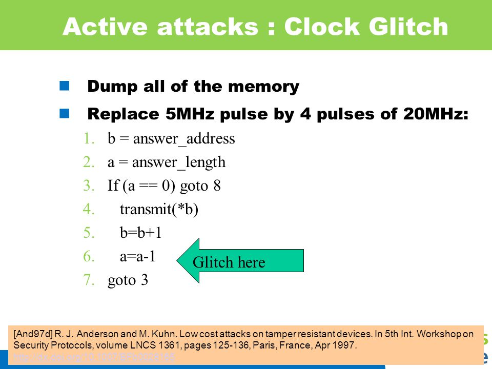 IIS 26 Active attacks : Clock Glitch Dump all of the memory Replace 5MHz pulse by 4 pulses of 20MHz: 1.b = answer_address 2.a = answer_length 3.If (a