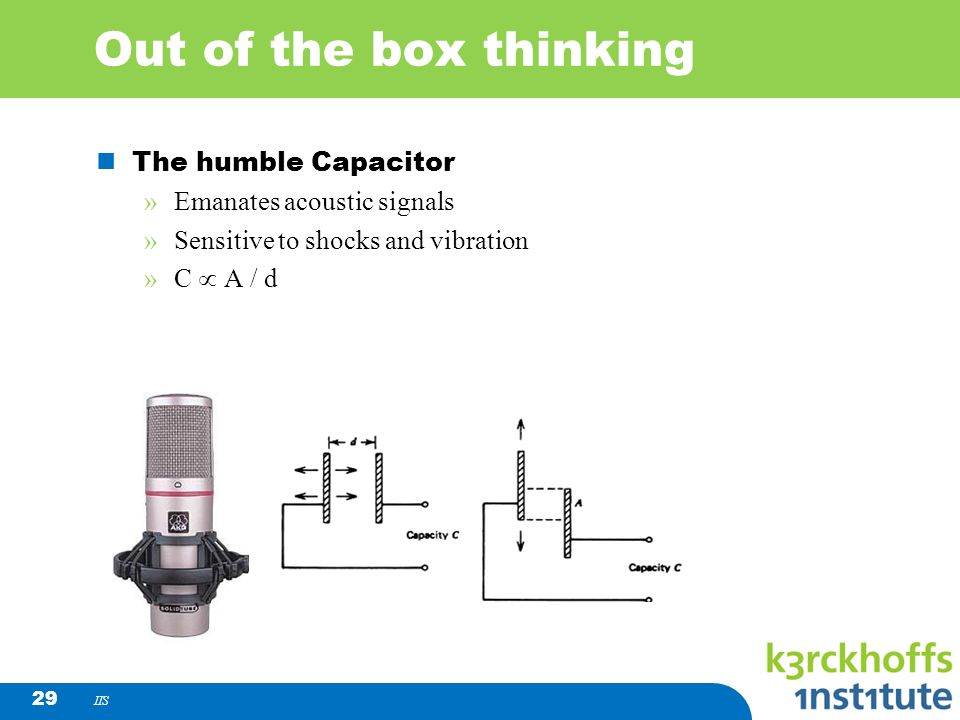 IIS 29 Out of the box thinking The humble Capacitor »Emanates acoustic signals »Sensitive to shocks and vibration »C A / d