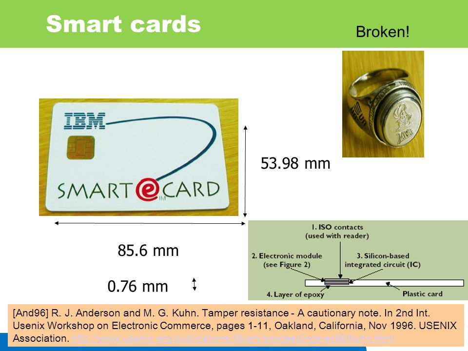 IIS 4 Smart cards 85.6 mm 53.98 mm 0.76 mm [And96] R. J. Anderson and M. G. Kuhn. Tamper resistance - A cautionary note. In 2nd Int. Usenix Workshop o