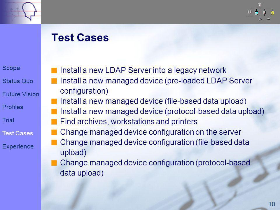 10 Test Cases Install a new LDAP Server into a legacy network Install a new managed device (pre-loaded LDAP Server configuration) Install a new managed device (file-based data upload) Install a new managed device (protocol-based data upload) Find archives, workstations and printers Change managed device configuration on the server Change managed device configuration (file-based data upload) Change managed device configuration (protocol-based data upload) Scope Status Quo Future Vision Profiles Trial Test Cases Experience