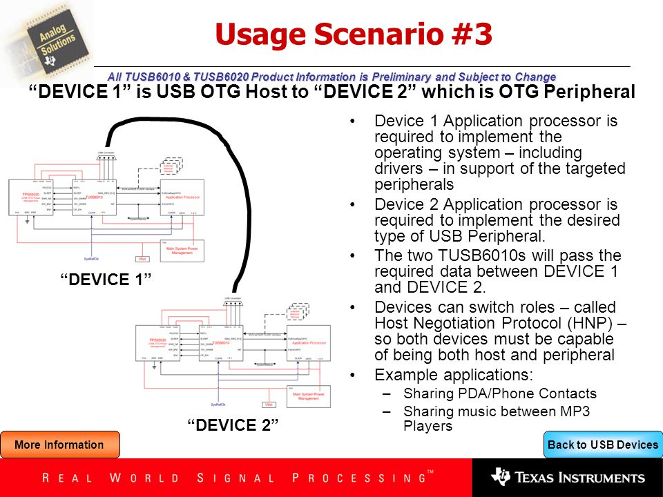 Back to USB Devices All TUSB6010 & TUSB6020 Product Information is Preliminary and Subject to Change Usage Scenario #3 Device 1 Application processor is required to implement the operating system – including drivers – in support of the targeted peripherals Device 2 Application processor is required to implement the desired type of USB Peripheral.