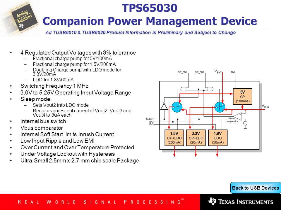 Back to USB Devices All TUSB6010 & TUSB6020 Product Information is Preliminary and Subject to Change TPS65030 Companion Power Management Device 4 Regulated Output Voltages with 3% tolerance –Fractional charge pump for 5V/100mA –Fractional charge pump for 1.5V/200mA –Doubling Charge pump with LDO mode for 3.3V/20mA –LDO for 1.8V/60mA Switching Frequency 1 MHz 3.0V to 5.25V Operating Input Voltage Range Sleep mode: –Sets Vout2 into LDO mode –Reduces quiescent current of Vout2, Vout3 and Vout4 to 8uA each Internal bus switch Vbus comparator Internal Soft Start limits Inrush Current Low Input Ripple and Low EMI Over Current and Over Temperature Protected Under Voltage Lockout with Hysteresis Ultra-Small 2.5mm x 2.7 mm chip scale Package