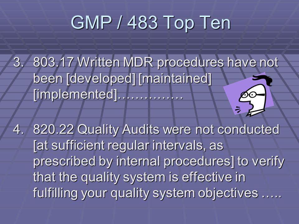GMP / 483 Top Ten 1.