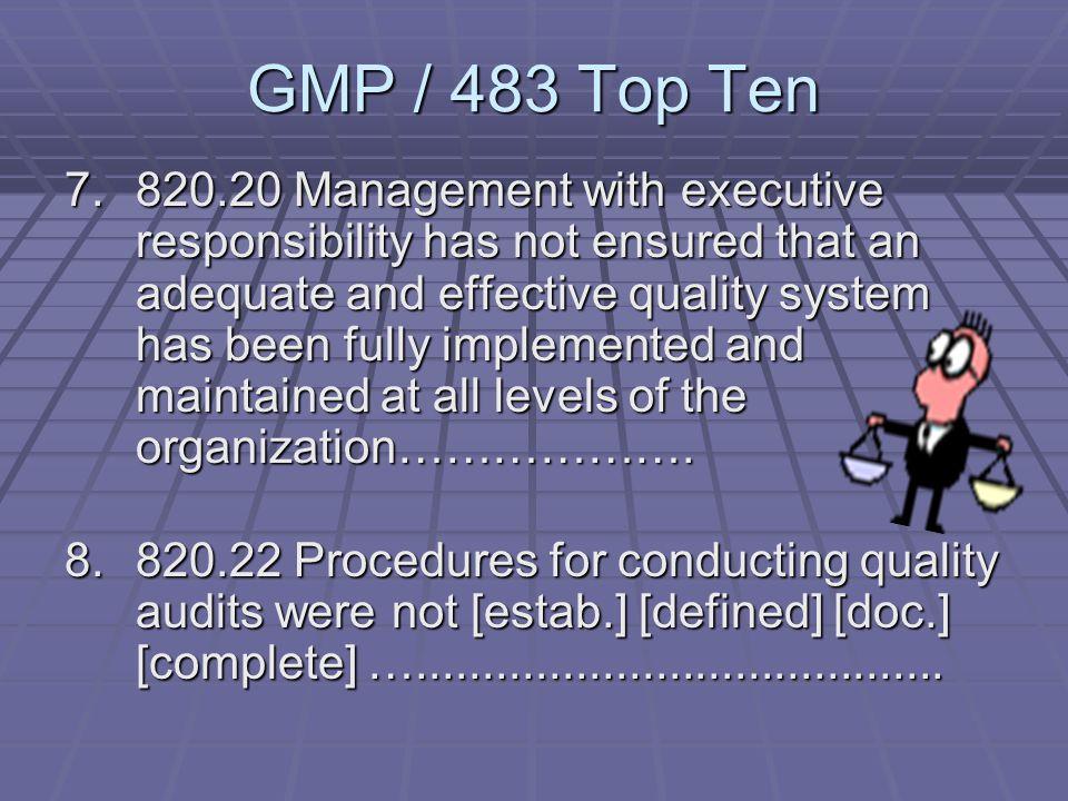 GMP / 483 Top Ten 5.