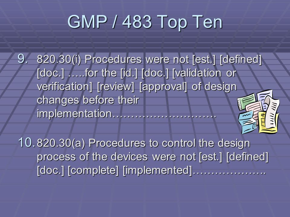 GMP / 483 Top Ten 7.820.20 Management with executive responsibility has not ensured that an adequate and effective quality system has been fully implemented and maintained at all levels of the organization……………….