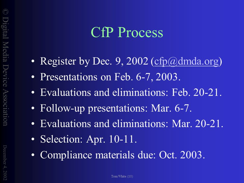 © Digital Media Device Association December 4, 2002 Tom White (10) CfP Process Register by Dec.