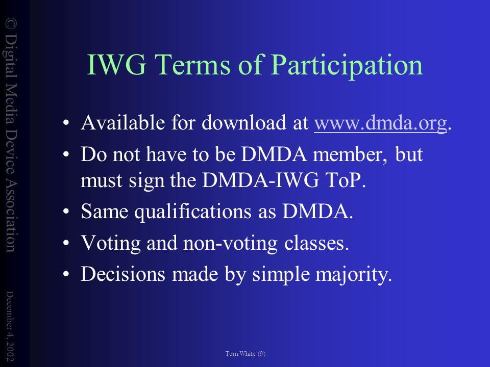 © Digital Media Device Association December 4, 2002 Tom White (10) CfP Process Register by Dec.