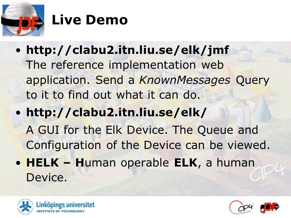 Live Demo http://clabu2.itn.liu.se/elk/jmf The reference implementation web application.
