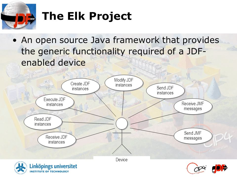 The Elk Project An open source Java framework that provides the generic functionality required of a JDF- enabled device Send JDF instances Read JDF instances Device Receive JDF instances Modify JDF instances Create JDF instances Execute JDF instances Receive JMF messages Send JMF messages