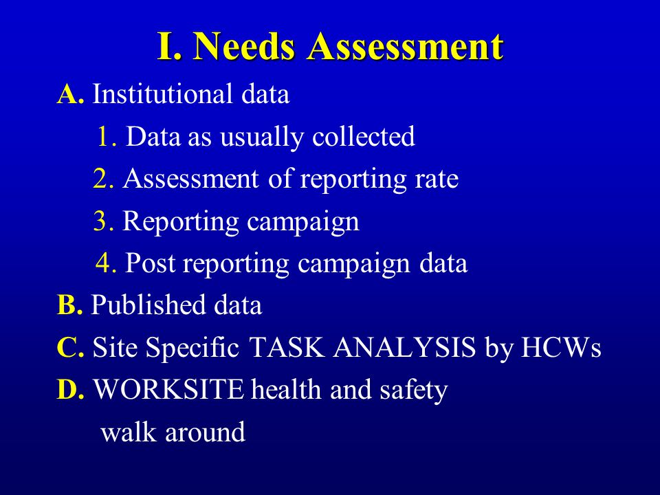 I. Needs Assessment A. Institutional data 1..Data as usually collected 2. Assessment of reporting rate 3. Reporting campaign 4. Post reporting campaig