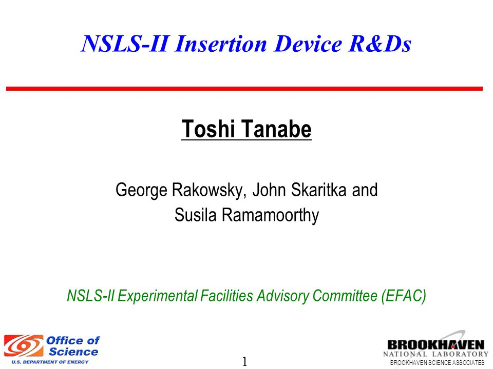 1 BROOKHAVEN SCIENCE ASSOCIATES NSLS-II Insertion Device R&Ds Toshi Tanabe George Rakowsky, John Skaritka and Susila Ramamoorthy NSLS-II Experimental Facilities Advisory Committee (EFAC)