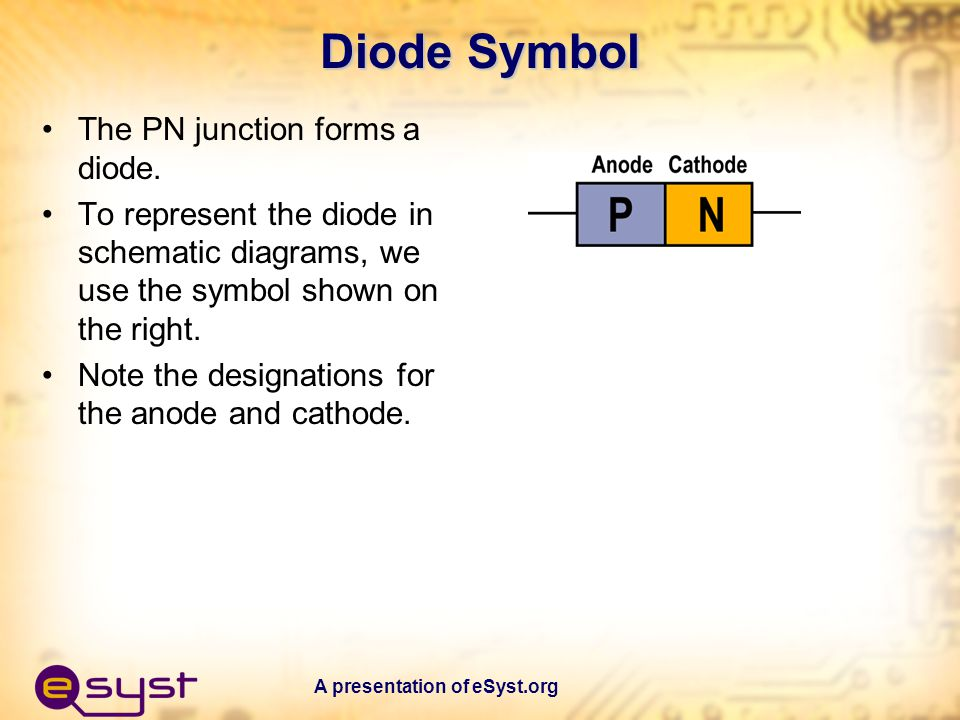 A presentation of eSyst.org Diode Current Flow The direction of current flow (electrons) is shown by the arrow.