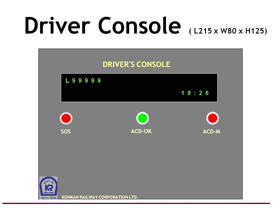 A cost effective system for Railway Level Crossing Protection 23 Driver Console ( L215 x W80 x H125) L 9 9 9 9 9 1 9 : 2 6 DRIVER S CONSOLE KONKAN RAILWAY CORPORATION LTD.