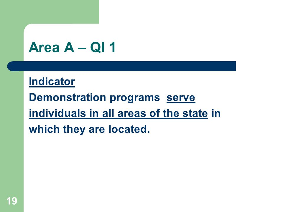 19 Area A – QI 1 Indicator Demonstration programs serve individuals in all areas of the state in which they are located.