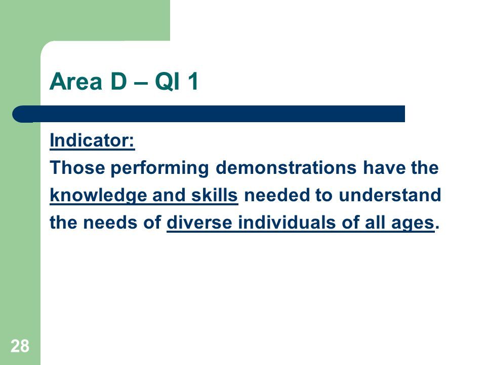 28 Area D – QI 1 Indicator: Those performing demonstrations have the knowledge and skills needed to understand the needs of diverse individuals of all ages.