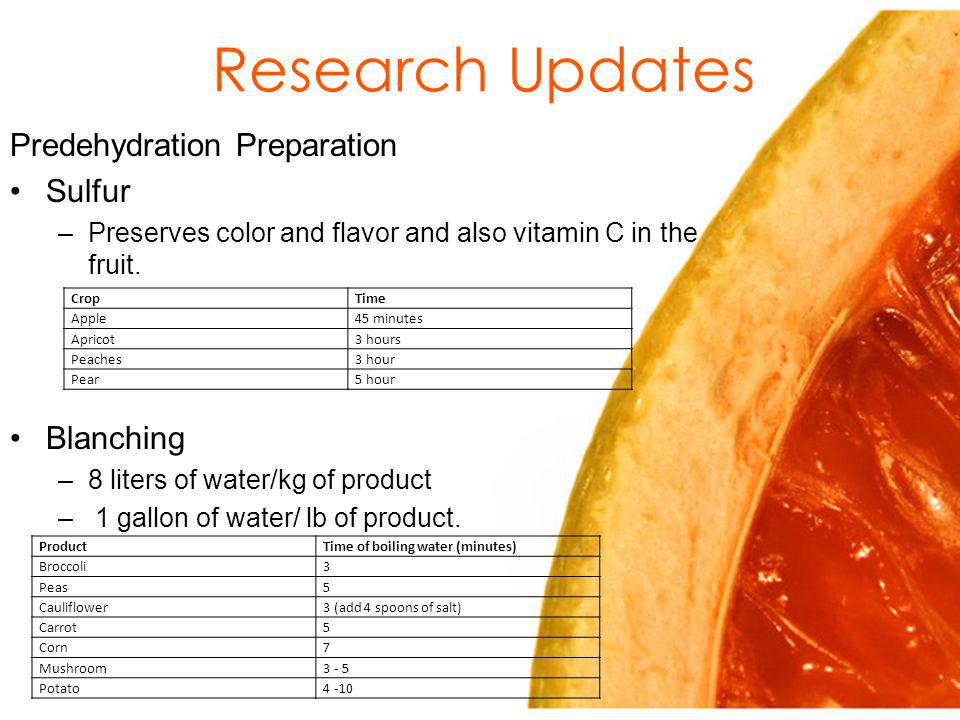 Research Updates Predehydration Preparation Sulfur –Preserves color and flavor and also vitamin C in the fruit.