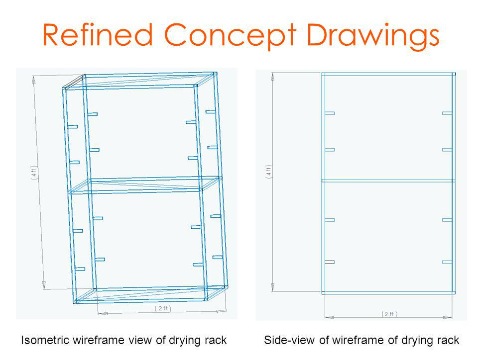 Refined Concept Drawings Isometric wireframe view of drying rackSide-view of wireframe of drying rack