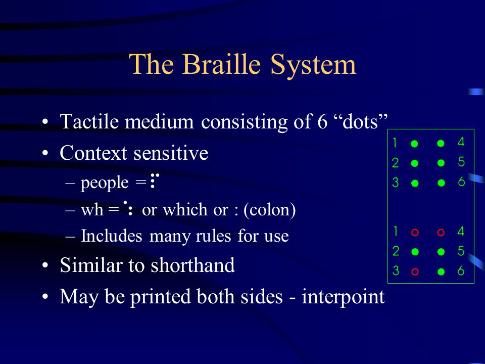 The Braille System Tactile medium consisting of 6 dots Context sensitive –people = p –wh = : or which or : (colon) –Includes many rules for use Similar to shorthand May be printed both sides - interpoint