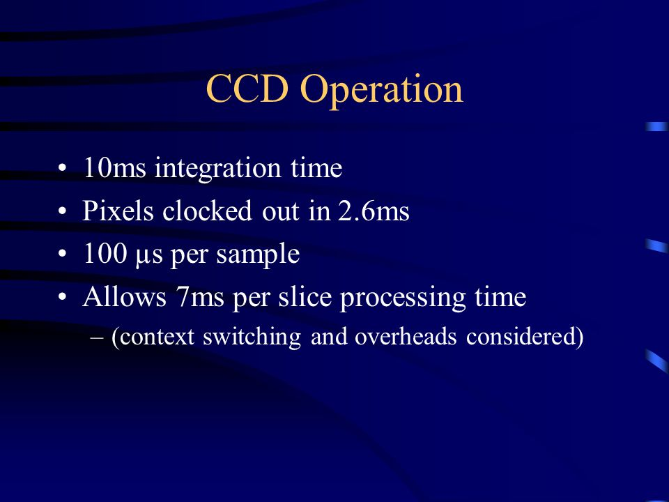 CCD Operation 10ms integration time Pixels clocked out in 2.6ms 100 µs per sample Allows 7ms per slice processing time –(context switching and overheads considered)