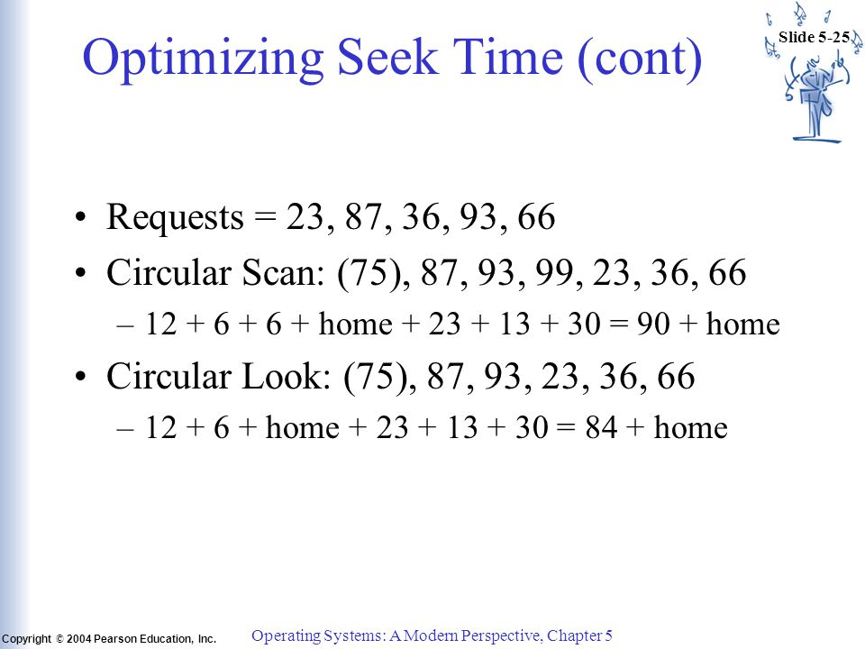 Slide 5-25 Copyright © 2004 Pearson Education, Inc. Operating Systems: A Modern Perspective, Chapter 5 Optimizing Seek Time (cont) Requests = 23, 87,