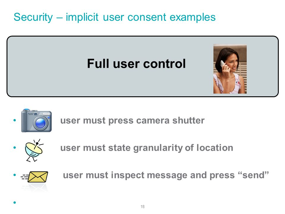 18 Security – implicit user consent examples Full user control user must press camera shutter user must state granularity of location user must inspect message and press send