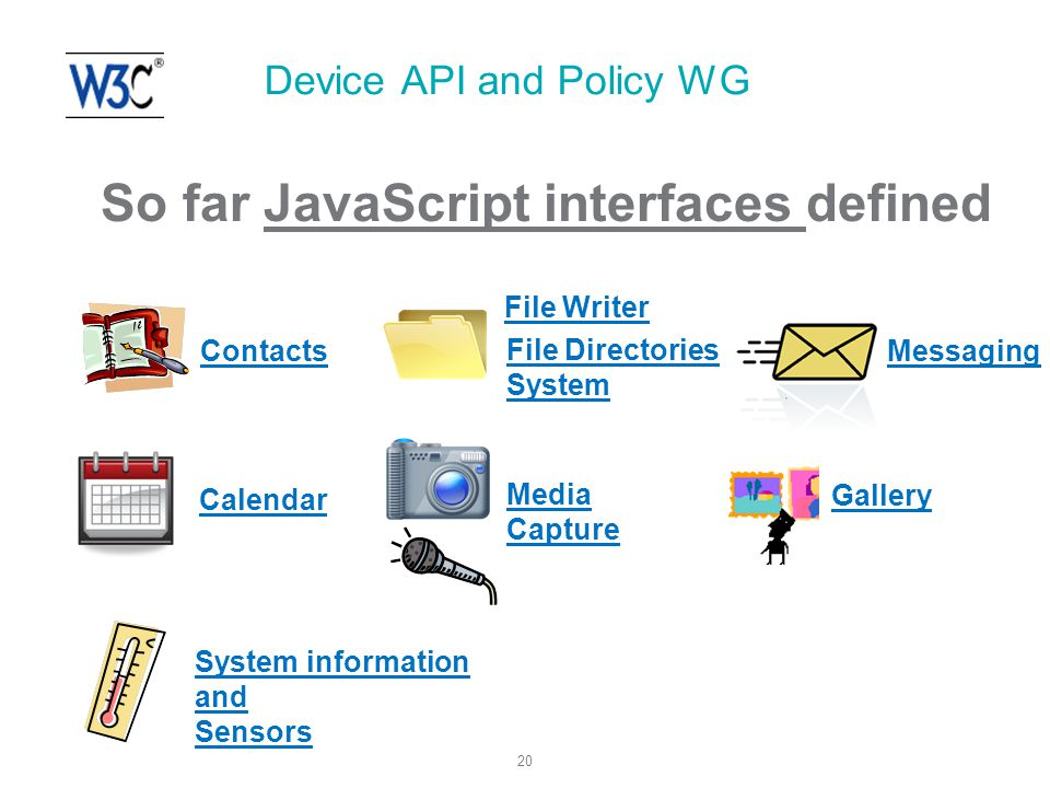 20 Device API and Policy WG So far JavaScript interfaces defined Messaging Contacts Calendar File Writer Media Capture System information and Sensors Gallery File Directories System