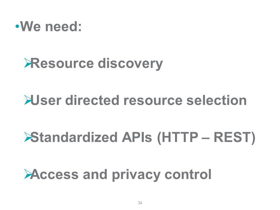 34 We need: Resource discovery User directed resource selection Standardized APIs (HTTP – REST) Access and privacy control