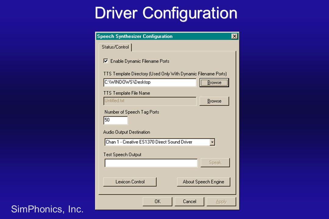 SimPhonics, Inc. Driver Configuration