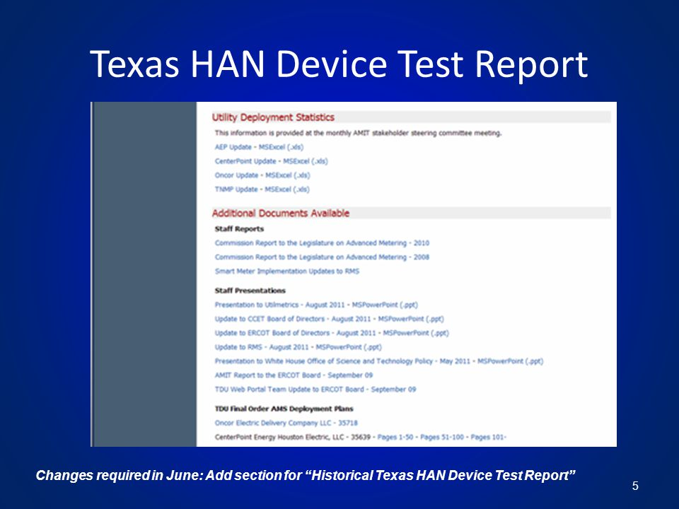 Texas HAN Device Test Report 5 Changes required in June: Add section for Historical Texas HAN Device Test Report